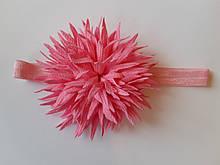 Детская красивая повязка светло-розовая - окружность 38-60см, цветок 9см