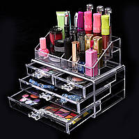 Настольный органайзер для косметики Cosmetic Organizer Makeup Container Storage Box 4 Drawer, Настільний органайзер для косметики Cosmetic Organizer
