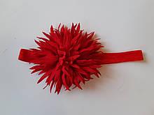 Детская красивая повязка красная - окружность 38-60см, цветок 9см