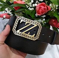 Ремень женский ZARA кожаный, черный ширина 40 мм. 930204