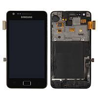 Дисплейный модуль (+ сенсор) для Samsung Galaxy S2 i9100, c передней панелью, черный, оригинал