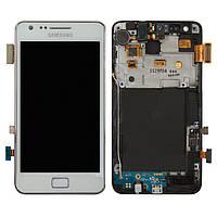 Дисплейный модуль (дисплей + сенсор) для Samsung Galaxy S2 i9100, c рамкой, белый, оригинал