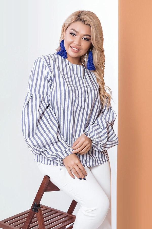 Стильная хлопковая блузка в полоску 58139 (48–54р) в расцветках