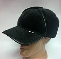 """Бейсболка-ушанка мужская с отворотом искусственный мех """"Нерпа"""" черный 11181/12.1, 58 размер Эллипс"""