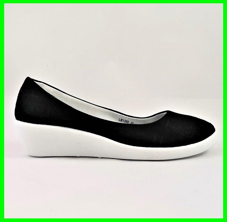 Женские Мокасины Чёрные Балетки Туфли на Танкетке (размеры: 37)
