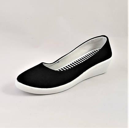 Женские Мокасины Чёрные Балетки Туфли на Танкетке (размеры: 37), фото 2