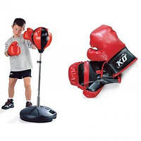 Детский боксерский набор MS 0333 боксерская груша на стойке и перчатки KHT 11/16.2