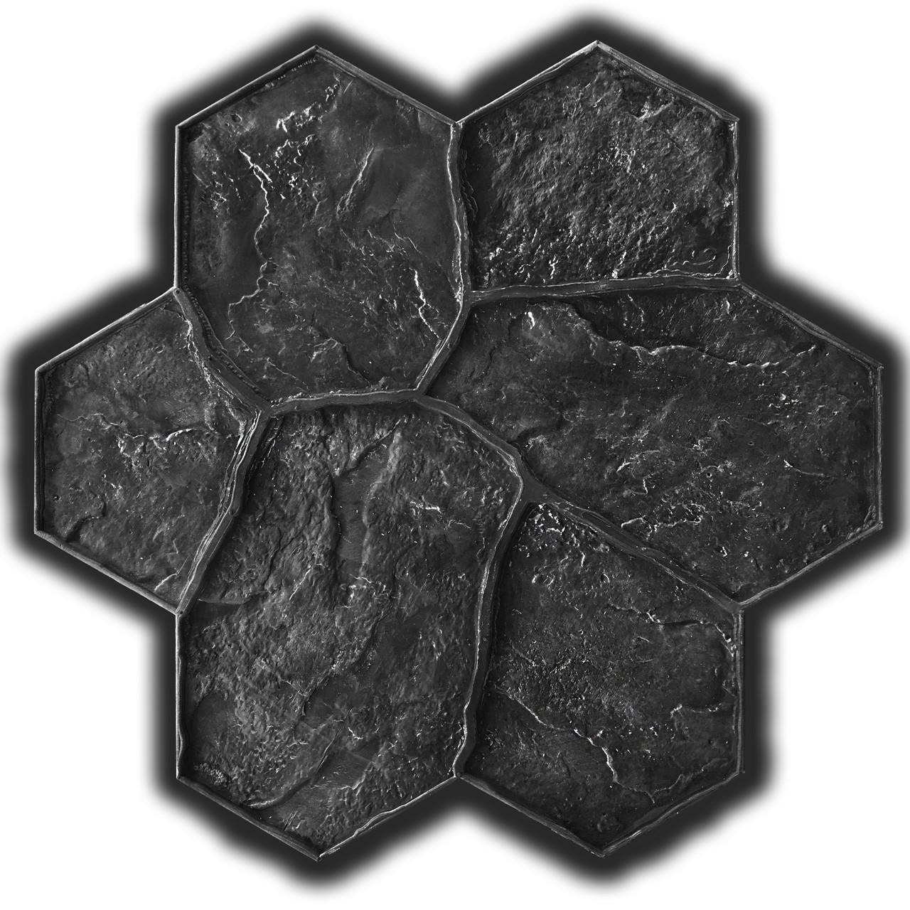 Садовый камень Цветок 61х59 см -  штамп резиновый для печатного бетона; хаотичная укладка натурального камня