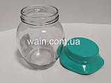 Стеклянная банка 350 мл для сыпучих Everglass с мятной пластиковой крышкой Шляпка, фото 3