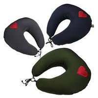 Подушка для путешествий под голову и шею EKKOSEAT.  Нежность. Оливковая.