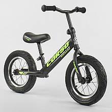 """Велобіг від-беговел з надувними колесами Corso 36906, сталева рама, колесо 12"""", чорний"""