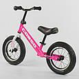 """Легкий велобіг від (беговел) з надувними колесами Corso 63908 зі сталевою рамою, колесо 12"""", рожевий, фото 2"""