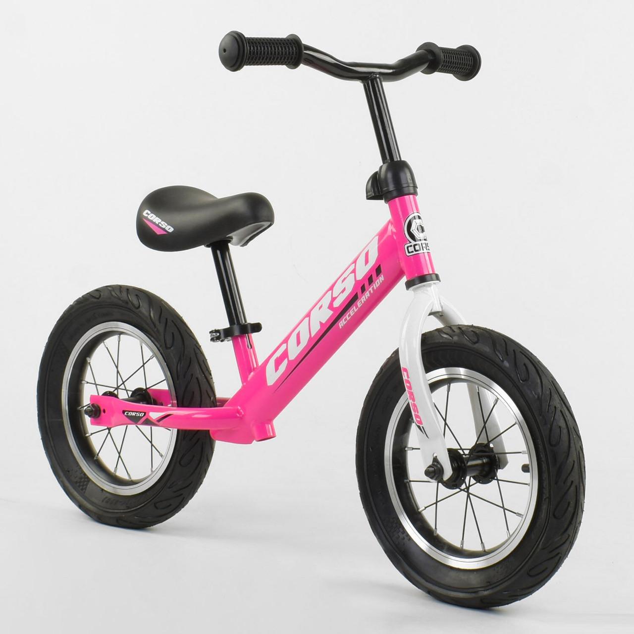 """Легкий велобіг від (беговел) з надувними колесами Corso 63908 зі сталевою рамою, колесо 12"""", рожевий"""