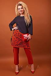 Женский,стильный,нарядный костюм,большого размера, ткань костюмка стр,размеры 50,52,54,56 (940)черный\терракот