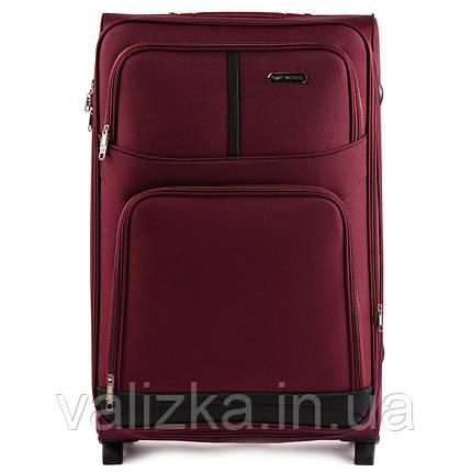 Текстильный чемодан большого размера на 2-х колесах Wings-206 бордового цвета., фото 2