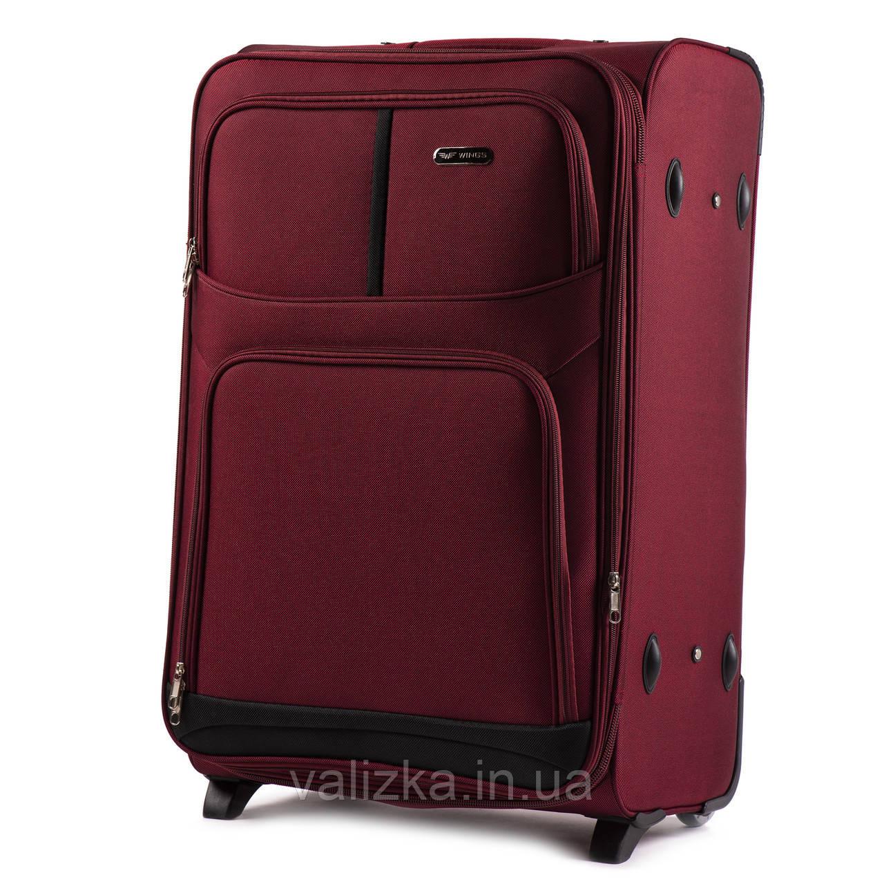 Текстильный чемодан большого размера на 2-х колесах Wings-206 бордового цвета.