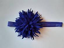 Детская красивая повязка электрик - окружность 38-60см, цветок 9см