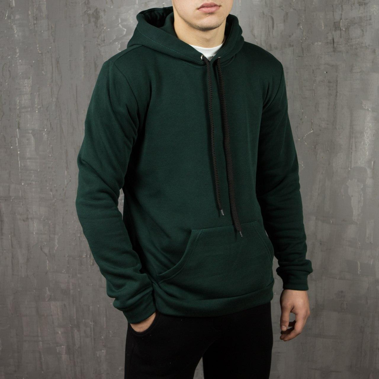 Мужское базовое худи темно-зеленое