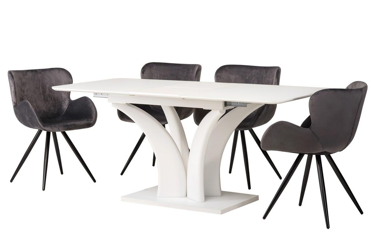 Стол обеденный, раскладной МДФ+матовое стекло TML-515 белый, модерн