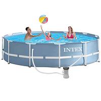 Каркасный бассейн, бассейн большой круглый каркасный + фильтр-насос 2006 л/час Intex 26712, 366 Х 76, 6503 л.