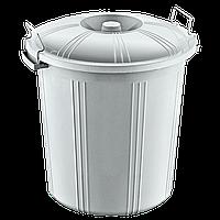 Бак для мусора пластиковый 70 л с крышкой на защелке