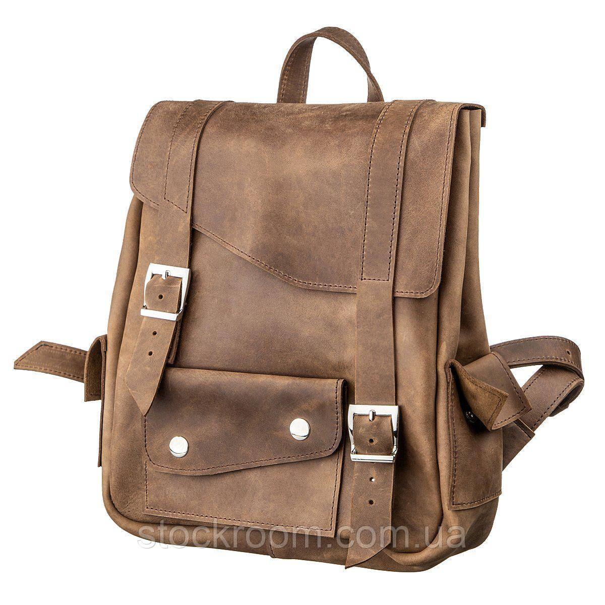 Рюкзак зі шкіри Crazy horse унісекс SHVIGEL 13948 коричневий
