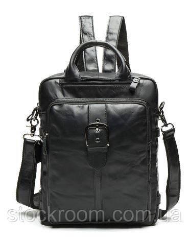 Сумка-рюкзак 2 в 1 мужская кожаная вертикальная с хлястиком Vintage 14790 Черная, Черный