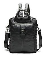 Сумка-рюкзак 2 в 1 мужская кожаная вертикальная с хлястиком Vintage 14790 Черная, Черный, фото 1