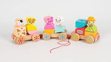 Деревянный конструктор поезд с животными. М03152.