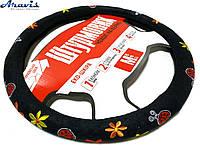 Оплетка чехол на руль авто Vitol 37-39 см 190402 FL BK M черная