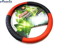 Оплетка чехол на руль авто 35-37 см 3985-RD/BK-S софт тач красная с черным
