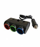 Разветвитель прикуривателя тройник Olesson 1523 на 3 гнезда, 2 USB с подсветкой 12-24V