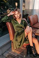 Шелковое короткое платье на запах цвета хаки (S, M)
