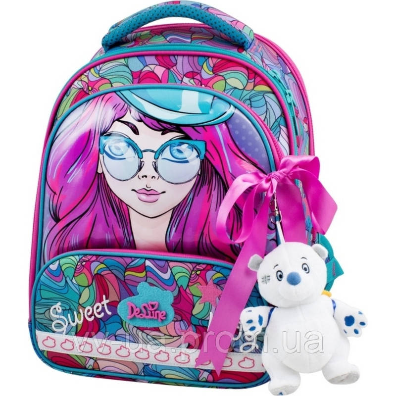 Школьный рюкзак каркасный Delune с наполнением, для девочек (Full-set 9-122)