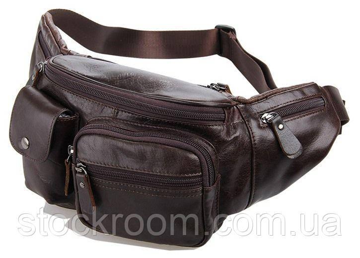 Поясна сумка Vintage 14431 Коричнева шкіра, Коричневий
