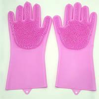 Перчатки силиконовые многофункциональные щетка для чистки и мытья посуды Magic Silicone Gloves розовые (0256)