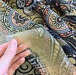 Палантин шерстяной 10794-10, павлопосадский шарф-палантин шерстяной (разреженная шерсть) с осыпкой, фото 4