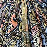 Палантин шерстяной 10794-10, павлопосадский шарф-палантин шерстяной (разреженная шерсть) с осыпкой, фото 6