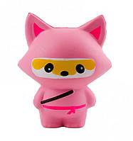 Игрушка сквиш Лиса ниндзя большая | Мягкая игрушка-антистресс | Squishy Лиса розовая