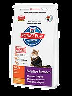 Корм для котов Hills SP Feline Adult Sensitive Stomach 5 кг чувствительное пищеварение Курица с яйцом и рисом
