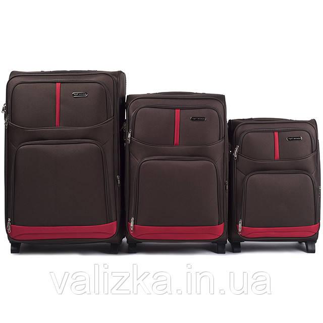 Комплект текстильных чемоданов для ручной клади, средний и большой на 2х колесах Wings 206 кофейного цвета.