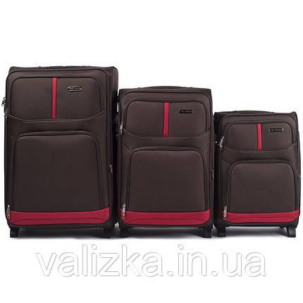 Комплект текстильных чемоданов для ручной клади, средний и большой на 2х колесах Wings 206 кофейного цвета., фото 2
