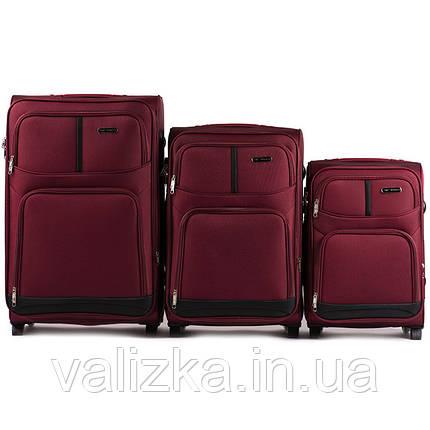 Комплект текстильных чемоданов для ручной клади, средний и большой на 2х колесах Wings 206 бордового цвета., фото 2