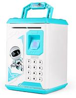 Игрушка сейф копилка с отпечатком пальца и кодовым замком Электронный сейф (Робот)