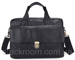 Портфель мужской кожаный с замком Vintage 14801 Черная, Черный