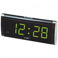 Часы VST VST-730 сетевые 220В led салатовые цифры Black