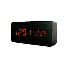 Электронные настольные часы  VST 862 Черные, Красная подсветка
