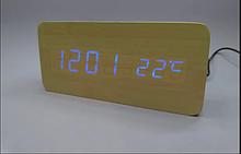Электронные настольные LED часы прямоугольные WOODEN CLOCK VST 862