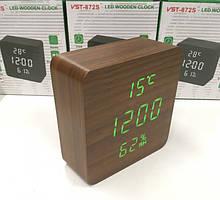 Электронные настольные часы-будильник с термометром и гигрометром LED WOOD CLOCK VST-872S
