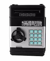 Копилка сейф с кодом безопасности для бумажных денег (черный классический)